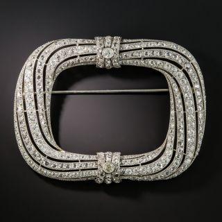 Belle Epoque Large Platinum Diamond Frame Brooch - 1