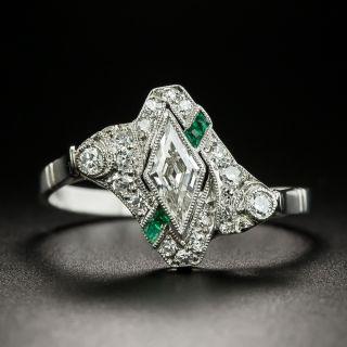 Art Deco Lozenge-Cut Diamond Calibre Emerald Ring - 2