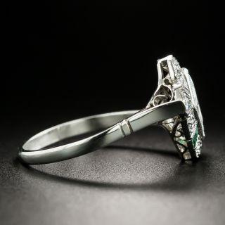 Art Deco Lozenge-Cut Diamond Calibre Emerald Ring