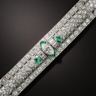 Art Deco Marquise Diamond and Emerald Bracelet by Katz & Ogush - 2