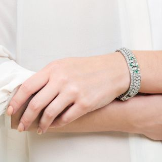 Art Deco Marquise Diamond and Emerald Bracelet by Katz & Ogush