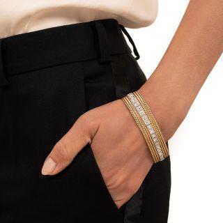 Art Deco/Mid-Century Fusion Straight Line Diamond Bracelet