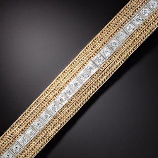 Art Deco/Mid-Century Fusion Straight Line Diamond Bracelet - 1