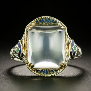 Art Deco Moonstone and Enamel Ring by Isaac H. Slohm - 2