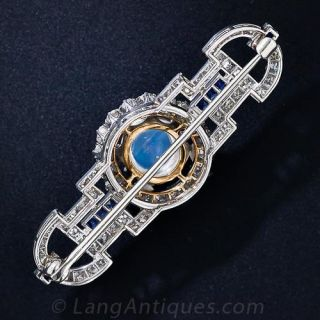 Art Deco Moonstone, Diamond and Sapphire Brooch