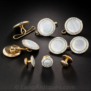 Art Deco Mother-of-Pearl 8-Piece Dress Set by J.E. Caldwell