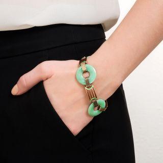 Art Deco Natural Burma Jadeite and Enamel Bracelet  by Wordley Allsopp and Bliss