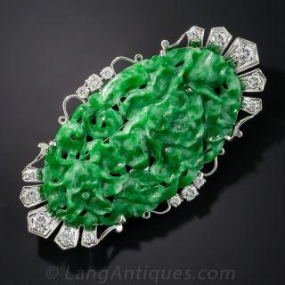Art Deco Natural Burma Platinum Carved Jade and Diamond Brooch by Birks - 1