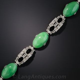 Art Deco Natural Burmese Jade and Diamond Platinum Bracelet - 1