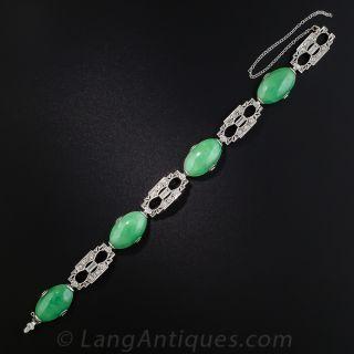 Art Deco Natural Burmese Jade and Diamond Platinum Bracelet