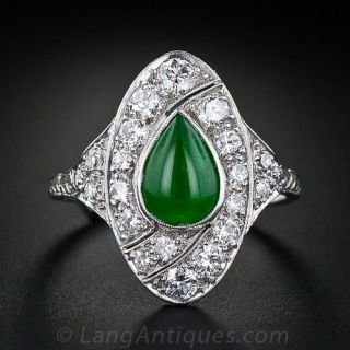 Art Deco Natural Burmese Jade and Diamond Ring