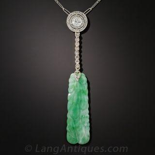 Art Deco Natural Burmese Jade, Diamond and Pearl Necklace