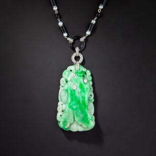 Art Deco Natural Burmese Jade Necklace