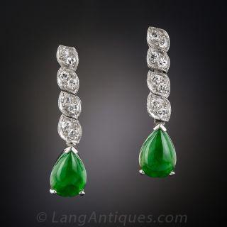 Art Deco Natural Burmese Jadeite & Diamond Drop Earrings