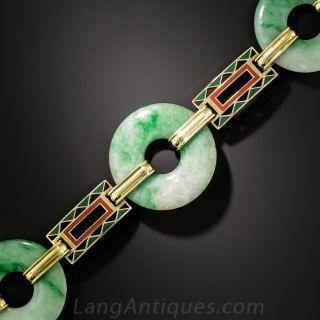 Art Deco Natural Burmese Jadeite & Enamel Bi Bracelet - 2