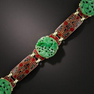 Art Deco Natural Carved Burmese Jade and Enamel Bracelet - 2