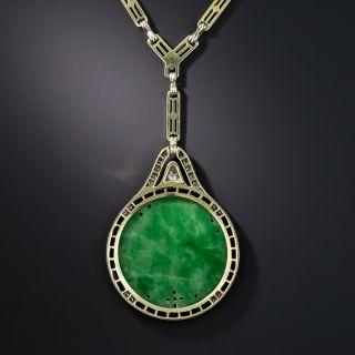 Art Deco Natural Carved Burmese Jade Diamond and Black Onyx Necklace