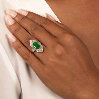 Art Deco Natural Jade and Diamond Dinner Ring - GIA