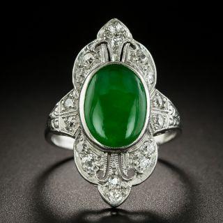 Art Deco Jade and Diamond Ring - GIA - 2
