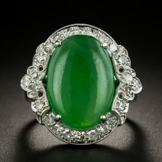 Art Deco Natural Jade and Diamond Ring by Goodman & Co - 1