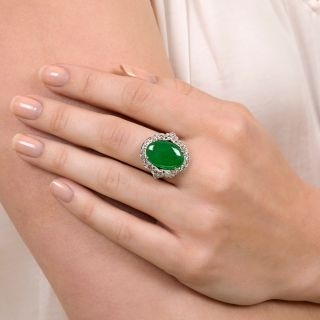 Art Deco Natural Jade and Diamond Ring by Goodman & Co.