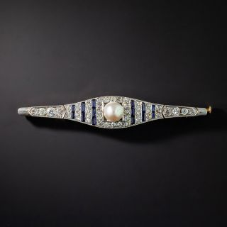 Art Deco Mabe Pearl, Diamond and Synthetic Sapphire Bar Pin - 1