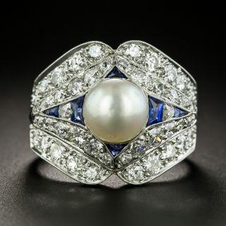 Art Deco Natural Pearl, Diamond, Sapphire Ring - GIA - 2