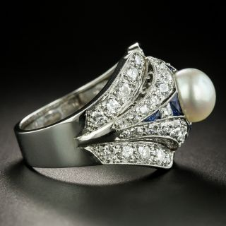 Art Deco Natural Pearl, Diamond, and Sapphire Ring - GIA