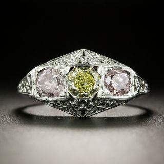 Art Deco Natural Yellow And Pink Diamond Three-Stone Ring - GIA - 3