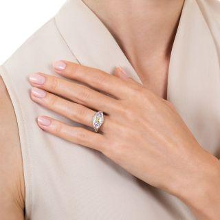 Art Deco Natural Yellow And Pink Diamond Three-Stone Ring - GIA