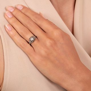 Art Deco Neoclassical .18 Carat Diamond Solitaire Engagement Ring