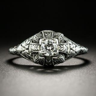 Art Deco Neoclassical .18 Carat Diamond Solitaire Engagement Ring - 2