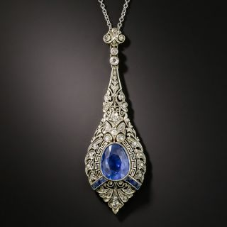 Art Deco No-Heat 3.80 Carat Sapphire and Diamond Lavalière Necklace - GIA - 2