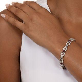 Art Deco No-Heat Burma Ruby and Diamond Bracelet