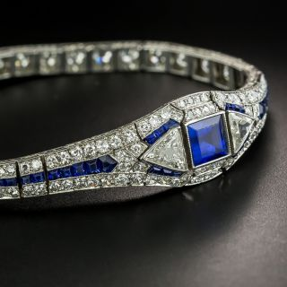 Art Deco No-Heat Burma Sapphire and Diamond Bracelet, Attributed to Oscar Heyman - 3