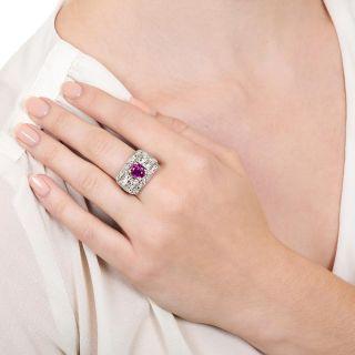 Art Deco No-Heat Ruby and Diamond Three-Stone Ring