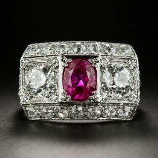 Art Deco No-Heat Ruby and Diamond Three-Stone Ring - 4