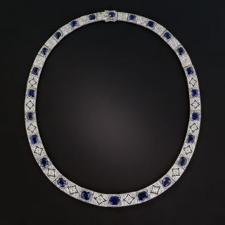 Art Deco No-Heat Sapphire Platinum Diamond Necklace  - 1