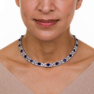 Art Deco No-Heat Sapphire Platinum Diamond Necklace