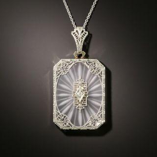 Art Deco Octagonal Rock Crystal Quartz and Diamond Pendant - 1