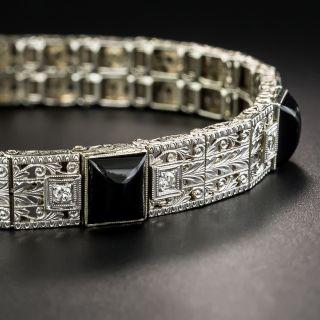 Art Deco Onyx and Diamond Bracelet