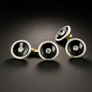 Art Deco Onyx and Diamond Cufflinks - Austro-Hungarian - 2