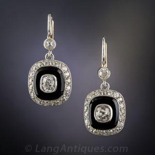 Art Deco Onyx and Diamond Dangle Earrings