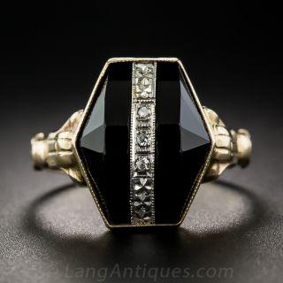 Art Deco Onyx and Diamond Dinner Ring