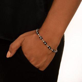 Art Deco Onyx and Diamond Link Bracelet