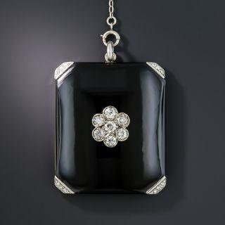 Art Deco Onyx and Diamond Locket Necklace - 1