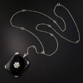 Art Deco Onyx and Diamond Locket Necklace