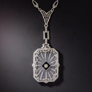 Art Deco Onyx and Diamond Rock Crystal Filigree Pendant and Fancy Chain - 1