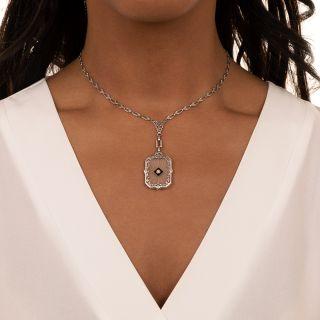 Art Deco Onyx and Diamond Rock Crystal Filigree Pendant and Fancy Chain