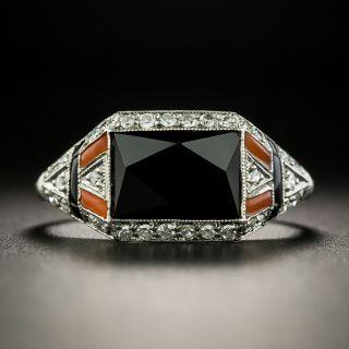 Art Deco Onyx, Carnelian and Diamond Ring - 2